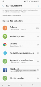Android systeem batterijverbruik
